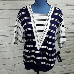 NWT Navy & White Short Sleeve Blouse